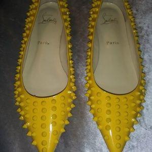 Christian Louboutin Yellow Spiked Flats Size 9